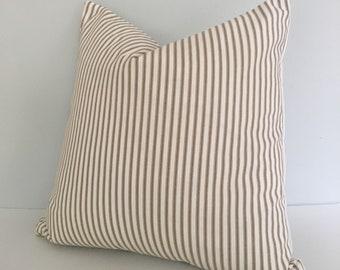 Brown Ticking Stripe Throw Pillow Cover knife edge 18x18