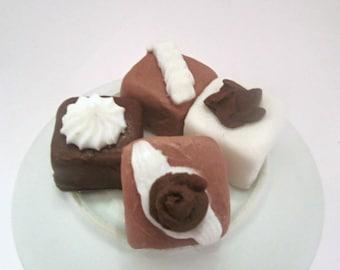 Chocolate Petit Four Soaps - Set of Four
