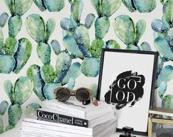 Watercolor cactus wallpaper, removable or regular material, cactus wall mural