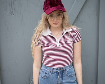 Vintage Red/White Striped Fitted Tee