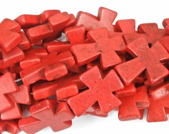 """Red Cross Beads, Large Crosses, 35x30mm Magnesite Crosses, Red Howlite Crosses, 16"""" Strand, 11 PCS, Cross Jewelry, Wholesale Beads"""