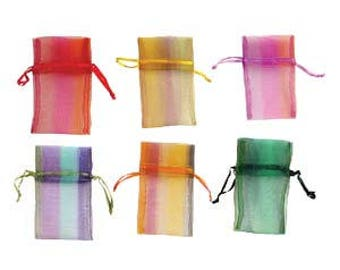 """Organza drawstring pouches, assorted colors, 2.75"""" x 3"""", 12 bags per order."""