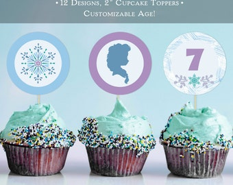 "Frozen Elsa Winter Birthday 2"" Cupcake Toppers 