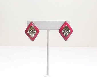 Pink Enamel Post Earrings