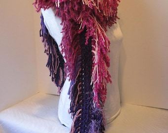 Crochet Scarf ~ Lots of Fringe ~ Purples & Pinks