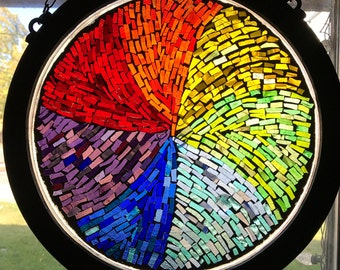 Stained Glass Mosaic Window with wooden frame