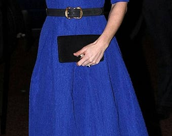Custom Made Kate Middleton Inspired Blue Dress, Classic, Elegant, Timeless, Audrey Hepburn Style Dress, Fit and Flare Dress