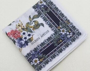 FREE Shipping!!! HARDY AMIES Floral Hanky Handkerchief