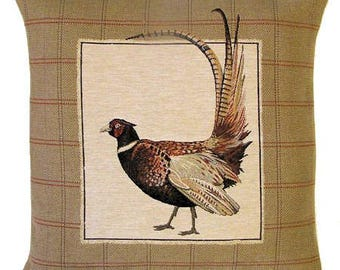 jacquard woven belgian gobelin tapestry cushion throw pillow cover pheasant with tails up 18x18 - PC-5209
