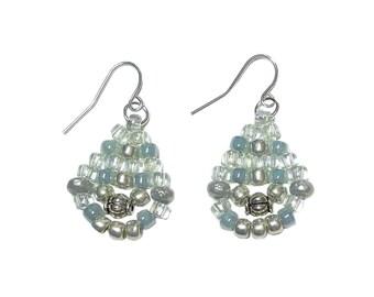 Bead Earrings Silver/Blue