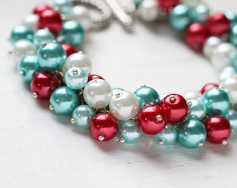 Teal Red Wedding Bridesmaid Jewelry Pearl Cluster Bracelet - Carnival