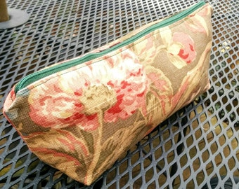 Pouch made with upholstery fabric remnants in purple, rose, green and gold , tulips and roses