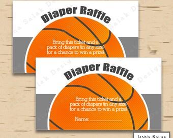 Basketball Diaper Raffle Tickets INSTANT DOWNLOAD Printable Orange Gray DIY Boy Baby Shower BK01