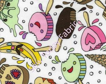 Ice Cream Crime Scene - Timeless Treasures SAMARRA-C9776-WHITE (sold by the 1/2 yard)