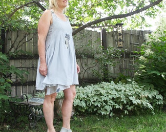 upcycled dress S - M upcycled clothing, upcycled fashion, two piece pinafore dress . almost a whisper
