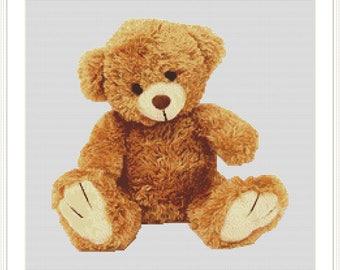 teddy bear cross stitch pattern instant download