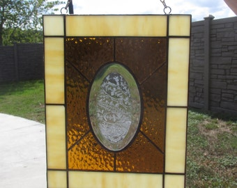 Suncatcher (panel) Traditional Stained Glass with Oval Glue Chip Bevel Amber Cathedral and Opal