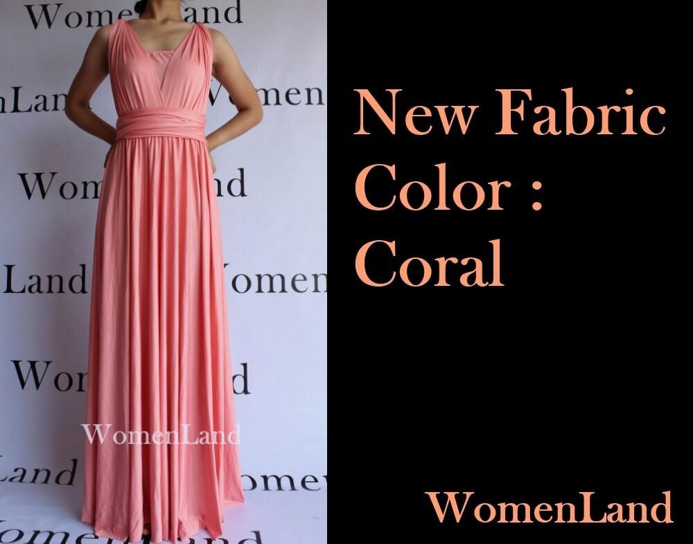 Coral Infinity Wrapping Convertible Bridesmaid Maxi Dress