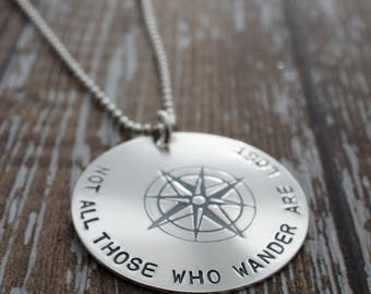 Not All Those Who Wander Are Lost - Sterling Silver JRR Tolkien Compass Necklace - Jewelry Travel Gifts