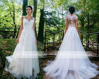 A Line Wedding Dresses with Chapel Train