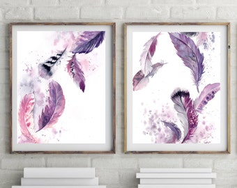 Feathers Art Prints Set, set of 2, purple feathers, watercolor print, feathers print, watercolour painting, modern wall art