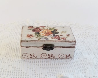 Wooden Jewelry  Box Handmade Decoupage Storage Box With Spring Flowers For Home Decor