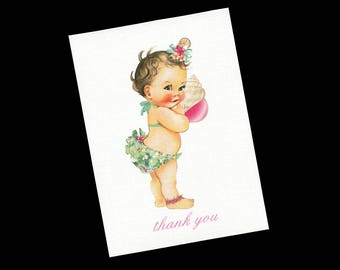 Thank You Cards - Baby Shower Thank You Cards - Baby Girl  - Blank Note Card - Thank You Note Card - Pink