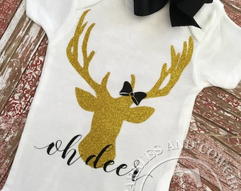 Oh deer- Deer outfit- Deer- Baby wear- Baby shower- Gifts- New baby- Baby- Boutique outfits- Baby girl clothes- Clothing sets- Girls shirts