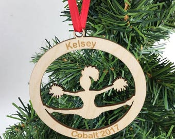 Cheerleader Ornament, Girls Ornament, Cheer Ornament, Teen Ornament, Engraved Ornament, Custom Ornament, Personalized Ornament