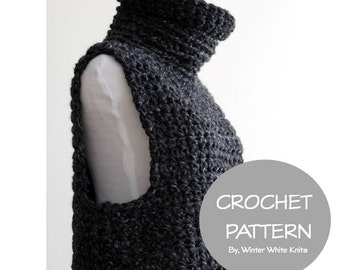 Crochet sweater pattern- cowl vest, PDF Instant Download Crochet Pattern, tutorial, NOT a finished product, make it yourself tutorial, 0042