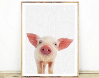 Piglet Print, Pig Print, Farm Animal Decor, Digital Download, Large Poster, Pink Pig Art, Nursery Animals, Printable Pig, Farmhouse art #251