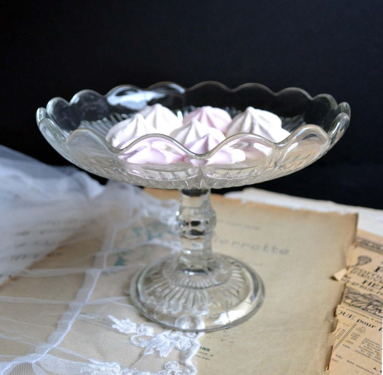 Vintage pedestal cake stand plate molded pressed glass dessert for Decor8 crack