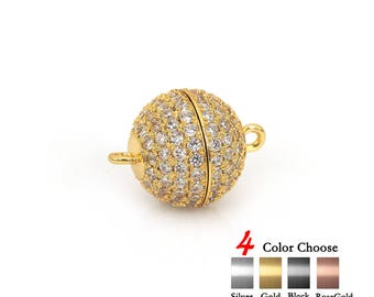 Round Magnetic Jewelry Clasp,Pave CZ Ball Bead Strong Magnetic Clasps for Bracelet/Necklace DIY Findings 1Pcs