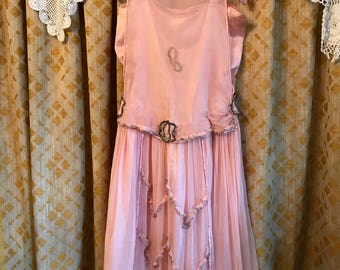 Pink silk and Chiffon 1920s Flapper Dress, Roaring Twenties Dance Dress