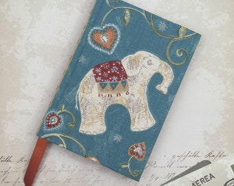 A6 Sketchbook Hand Covered with a striking Elephant Pattern fabric in an Indian Style