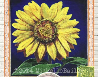 Art Prints & Note Cards   Sunflower Heart Love, made from original acrylic painting by Michelle Bailey