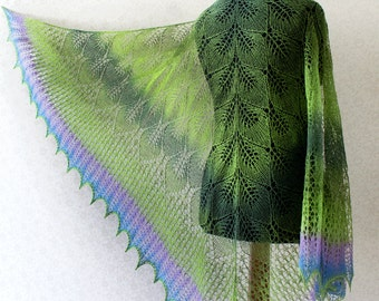 Hand Knit wool woman shawl in green-purple-blue colors