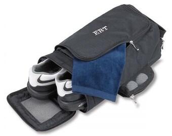Monogram Black Golf Shoe Bag, Custom Bowling Shoe Bag, Embroidered Golf Shoe Bag, Men's Shoe Travel Bag, Sports Gym Shoe Bag, Gifts for Dad