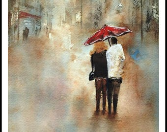 """Original Painting Printable """"Sharing the Moment"""", Watercolor, Instant Download"""