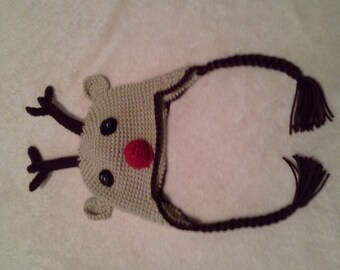 """Hand Crocheted & Decorated Acrylic Baby Hat. """"Reindeer with Braids"""" Pattern"""