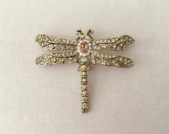 Champagne Dragonfly Brooch.Dragonfly Brooch.Gold Dragonfly Pin.Crystal.Wedding.Bridal Brooch.Gold Dragonfly Broach.Rhinestone.brown.small