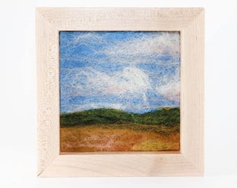 Wool Landscape Painting - Needle Felted Fiber Art Landscape - Distant Hills (6x6 Maple Frame)