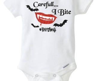 Halloween onesie, Vampire, Halloween Shirt, teething, halloween themed, girl, baby, Toddler, Infant, Carefull, I bite