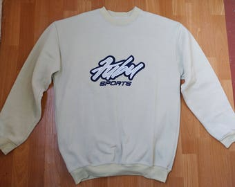 FUBU sweatshirt, vintage longsleeve beige shirt 90s hip-hop clothing, old school 1990s hip hop shirt, OG, gangsta rap, hoodie size XL