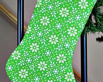 Satin lined, Cotton Christmas Stocking; Green Poinsettia Cotton Christmas Stocking, Decor, Wedding Gift