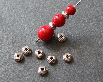 x 40 beads round and flat bow in antique silver 6 x 3.2 mm PMA39
