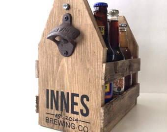 Set of 6, six pack holder, beer carrier, wood beer caddy, GROOMSMEN GIFTS, personalized beer caddy, personalized beer holder, beer caddy