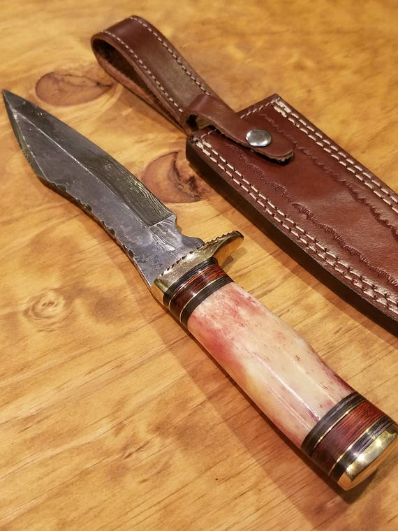 Handmade Bone Handle Hunting Knife Damascus Blade Collection With Leather Sheathe Premium Outdoors Large (A303)