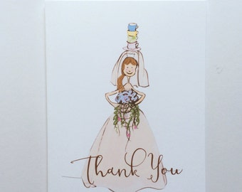 Bride and Tea Cup Thank You Card