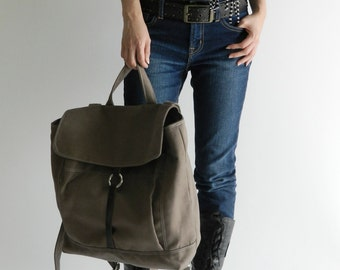 Taupe Brown Unisex canvas backpack, Leather strap laptop bag,Women travel backpack ,Canvas diaper bag/ Sale 25 % - no.102 -TANYA